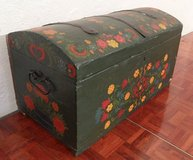 Green Hand Painted Chest with Wild Wild Flowers in Ramstein, Germany